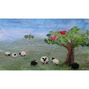 Artfelt sheep landscape picture kit felt, um kit de artesanato cuidadosamente projetado com tudo o que você precisa