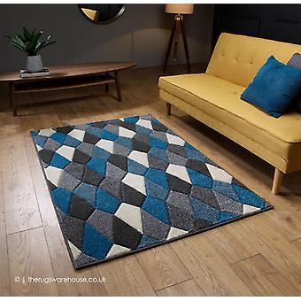 Portland Polygons blåt tæppe