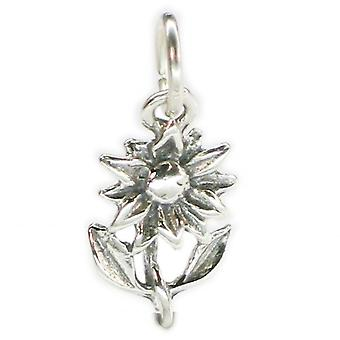 Flower Sterling Silver Charm .925 X 1 Flowers And Plants Charms - 4044