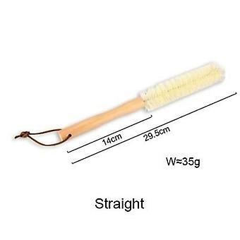 Long Handle Cup Brush Wood Straight Nylon Scrub Clean Brush