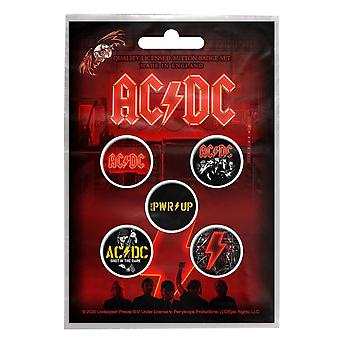 Ac/DC Button Badge PWR UP Band Logo novo botão oficial de 5 x pino
