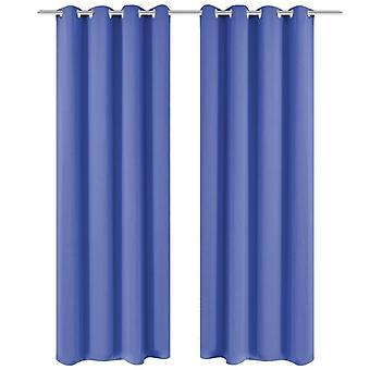 Cortinas opacas 2 uds. con ojales metálicos 135 x 175 cm azul