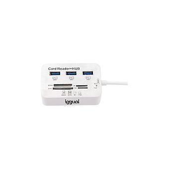 Usb Hub iggual IGG316733 USB 3.0 Lector de tarjetas Blanc