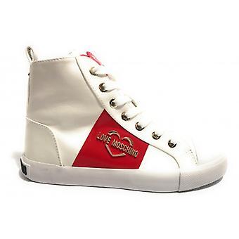 Schuhe Frau Liebe Moschino Sneaker High In Kunstleder Nappa weiß D20mo16