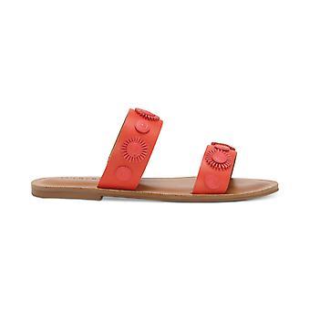 Lucky brändi naisten Adalyn nahka avoin kärki ranta liuku Mäki sandaalit