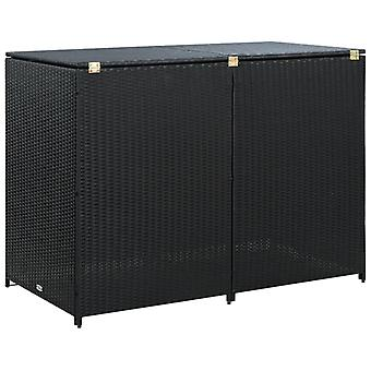 Double Wheelie Bin Shed Poly Rattan��Storage shed Black 148x80x111 cm