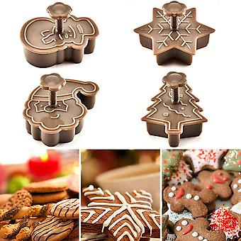 4 Piece set of modern  diy christmas themed pastry, fondant, cookie cutter plungers