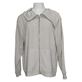 Women With Control Sweater Metallic Rib Zip-Front Jacket Silver A391099