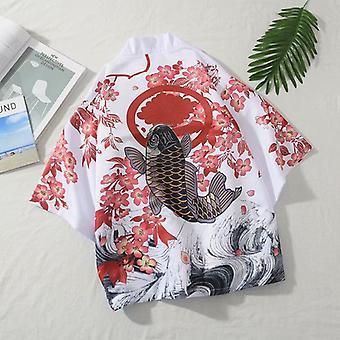 Uomo/donna Kimono giapponese Tradizionale Unisex Harajuku Beach Loose Thin Shirt