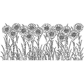 Daisy Border Wood Mounted Stamp