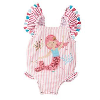 0-7y παιδιά μαγιό μωρό ριγέ βολάν λουράκι ένα κομμάτι μαγιό χαριτωμένο παιδί