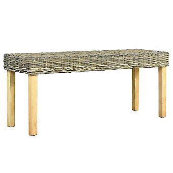 vidaXL bench 110 cm natural Kubu rattan and solid wood mango
