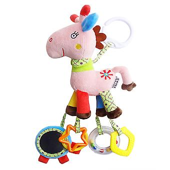 Deer Rattle Toys With Mirror Teether Plush Baby Hanging Toys Colorful Rattling Doll For Infant Pink