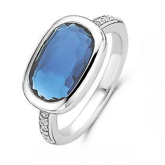 Ring ti Sento 12139DB-sølv blå synth sten oval mørk lukket kvinde