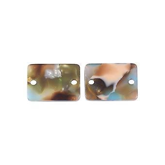 Zola Elements Acetate Connector Link, Rectángulo de sirena 14x10mm, 2 piezas, Multicolor