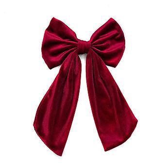 Solid color golden velvet cloth bow barrettes women's spring clip