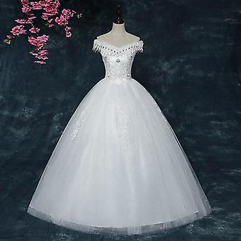 Elegante V Neck Lace Back Appliques Lace Beaded Vestidos de Casamento