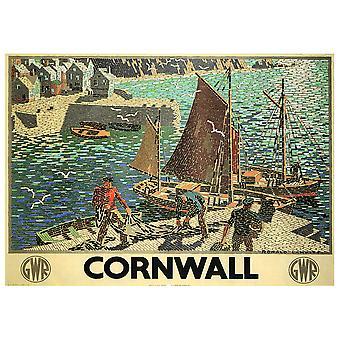 Vintage Reklame Plakat Cornwall - Lærred Print, Wall Art Decor