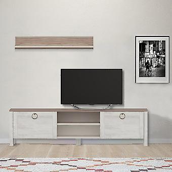 Gabinete de TV Sento, Color Blanco, Nogal en Tablero de Partículas de Melamina, Gabinete de TV L160xP35xA42 cm, Estante L90xA15 cm