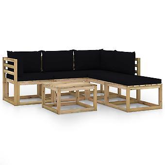 vidaXL 6 pcs. Garden Lounge Set with Black Pillows