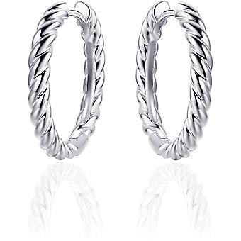 Gisser Jewels - Örhängen - Örhängen vridna med gångjärn - 3mm Bred - 22mmØ - Gerhodineerd Sterling Silver 925