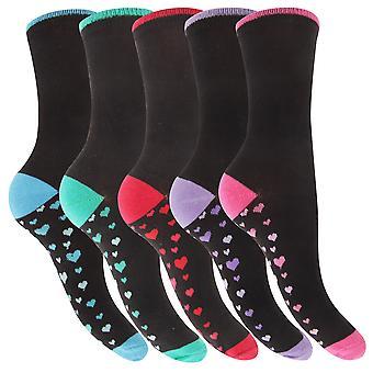 Dame / Ladies Bomuld Rich Dot og Heart Design Socks (Pack Of 5)