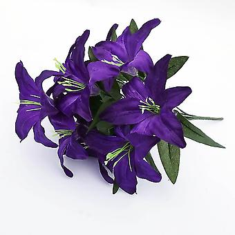 2pcs Artificial Lily 10 Heads Fake Lily Artificial Flower Wedding Party Decor(Dark Purple)