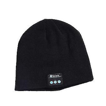 Appel sans fil Bluetooth Tricoté Chapeau hiver extérieur chaud musique chapeau avec haut-parleurs stéréo (noir)