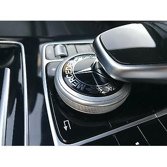 Mercedes Emblem Multimedia Control Klistermärke Badge Decal Chrome 46mm AMG