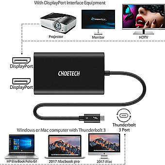 Thunderbolt 3 til dobbel skjermportadapter for Mac og Windows - støtte Dual 4k