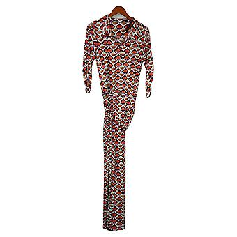 IMAN Global Chic Jumpsuits Printed Wide-Leg Belted Red 737121