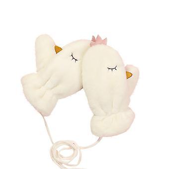 Women Knitted Hanging Neck Mittens Cute Rabbit Pattern Rope Glove
