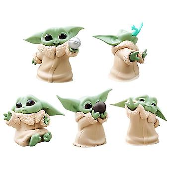 5PCS Baby Yoda Mini Action figur Star Wars Mandalorian Serie Jedi Meister Spielzeug