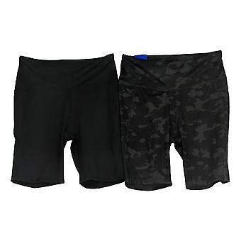 Danskin Women's Shorts Set Of 2 Camo Print & Solid Ladies' Bike Short Black