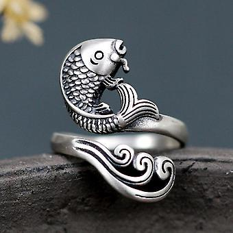 925 Sterling Silver Vintage Carp Ring For Man And Woman Resizable Size Retro S925 Silver