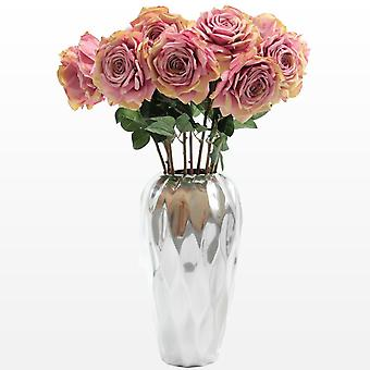 Saffronstem Artificial Flowers - Pink Roses Set of 3, Made from Latex, Real Touch and Look