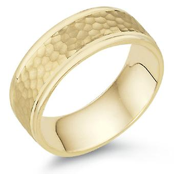 8mm Hammered Wedding Band in 18K Yellow Gold