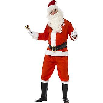 Traje Santa Claus rojo chaqueta pantalón cinturón sombrero guantes y stie tamaño XL.