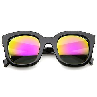 Rohkea ylikoko paksu runko Horn reunustetut peili linssi Square aurinkolasit 53mm