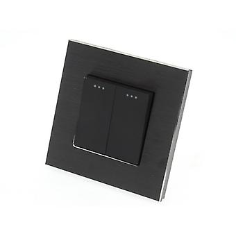 I LumoS Luxury Black Brushed Aluminium Frame 2 Gang 2 Way Rocker Wall Light Switches