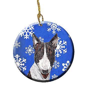 Carolines trésors SC9603CO1 Bull Terrier Winter Snowflakes ornement céramique