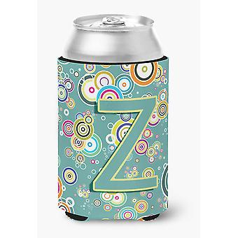 Letter Z Circle Circle Teal Initial Alphabet Can or Bottle Hugger