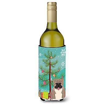 Merry Christmas Tree Englanti Bulldog harmaa Brindle viinipullo Beverge eriste