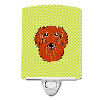 Checkerboard Lime Green Longhair Red Dachshund Ceramic Night Light