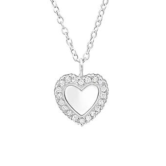 Heart - 925 Sterling Silver Jewelled Necklaces - W32082X