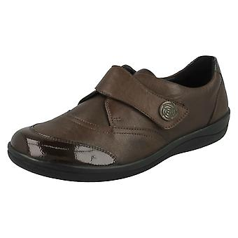 Ladies Padders Flat Shoes Gaby - Brown Leather - UK Size 8E - EU Size 42 - US Size 10