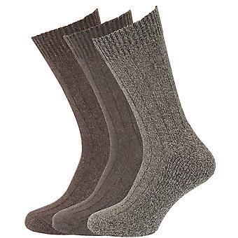 Mens wol mix sokken met wol gepolsterde tong (pak van 3)