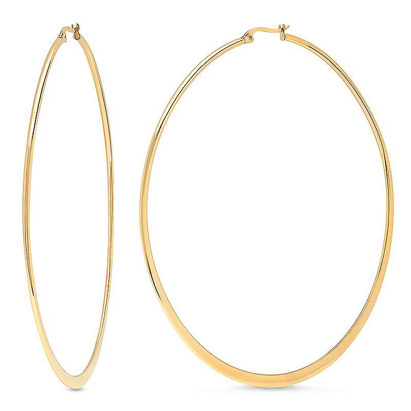 Ladies 18Kt Gold Plated Stainless Steel Flat Hoops Earrings