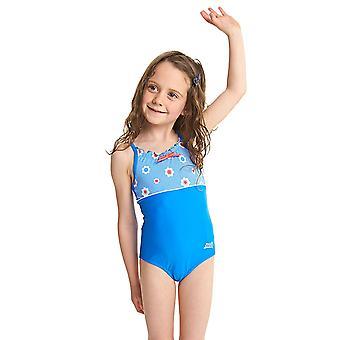 MITTELERWEILE Mädchen Urlaub Classicback Badeanzug - Blue/Multi