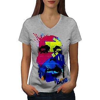 Bob Marley Splash Women GreyV-Neck T-shirt | Wellcoda